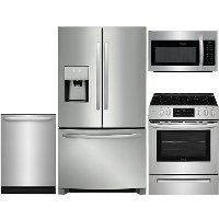 KIT Frigidaire 4 Piece Electric Kitchen Appliance Package with 26.8 cu. ft. French Door Refrigerator - Stainless Steel