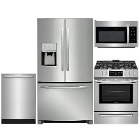 KIT Frigidaire 4 Piece Gas Kitchen Appliance Package with 26.8 cu. ft. French Door Refrigerator - Stainless Steel