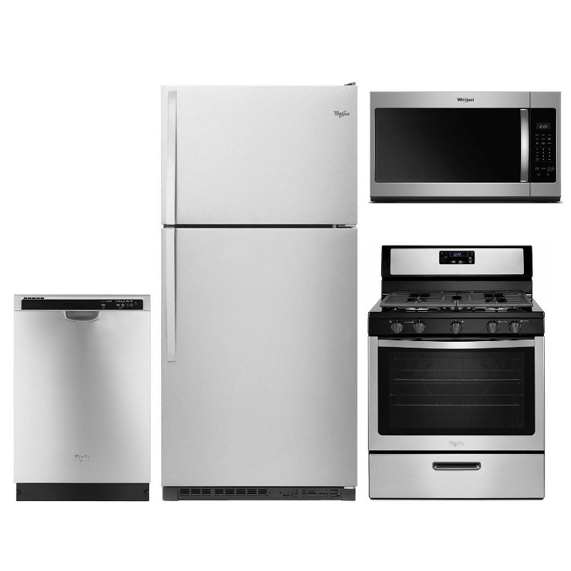 Whirlpool 4 Piece Gas Kitchen Appliance Package With Top Freezer Refrigerator Stainless Steel Rc Willey Furniture Store