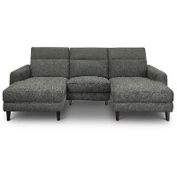 Charcoal Gray Transitional Power Sofa with Left and Right Chaise - Royals