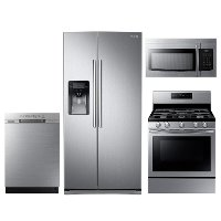 KIT Samsung 4 Piece Gas Kitchen Appliance Package with 24.5 cu. ft. Side by Side Refrigerator