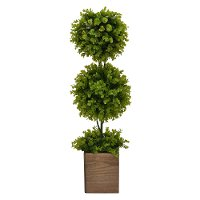 31 Inch Faux Green Double Topiary in Brown Pot