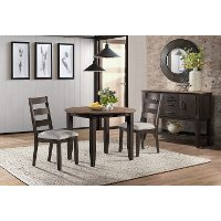 Traditional Black and Brown Round 3 Piece Dining Set - Beacon