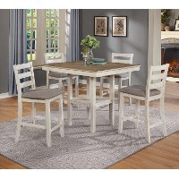 White and Gray 5 Piece Counter Height Dining Set - Tahoe