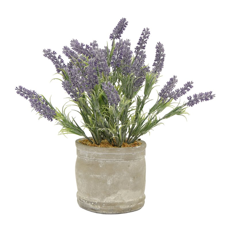 16 inch faux lavender arrangement in round cement pot rcwilley image1~800