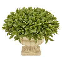 9 Inch Faux Green Topiary Grass Arrangement in Footed Urn