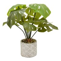 18 Inch Faux Greenery in Round Cement Pot