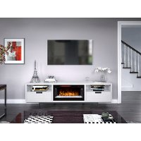 78 inch White Fireplace TV Stand - Wynwood