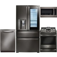 KIT LG 4 Piece Gas Kitchen Appliance Package with 22.5 cu. ft. French Door Refrigerator - Black Stainless Steel