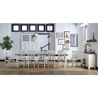 Farmhouse White and Brown 13 Piece Dining Set with Slat Back Chairs - Toluca