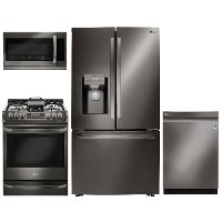 KIT LG 4 Piece Gas Kitchen Appliance Package with 23.5 cu. ft. French Door Refrigerator - Black Stainless Steel