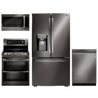 KIT LG 4 Piece Electric Kitchen Appliance Package with 23.5 cu. ft. Refrigerator - Black Stainless Steel