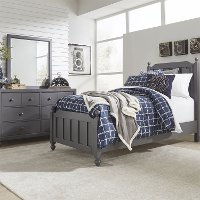Country Gray 4 Piece Twin Bedroom Set - Cottage View