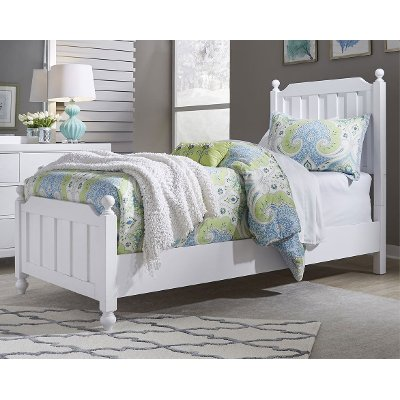 Country White Twin Bed - Cottage View