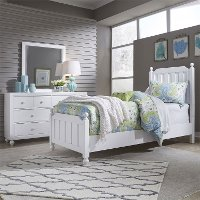 Country White 4 Piece Full Bedroom Set - Cottage View