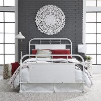Rustic Industrial White Twin Metal Bed - intage