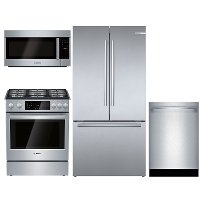 KIT Bosch 4 Piece Gas Kitchen Appliance Package with Counter Depth Refrigerator - Stainless Steel