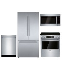 KIT Bosch 4 Piece Electric Kitchen Appliance Package with Counter Depth Refrigerator - Stainless Steel