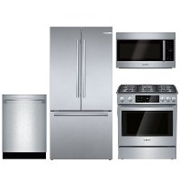 KIT Bosch 4 Piece Dual Fuel Kitchen Appliance Package with Counter Depth Refrigerator - Stainless Steel