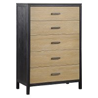 Modern Oak and Black Chest of Drawers - Carter