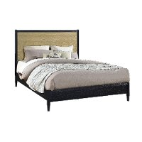 Modern Oak and Black King Size Bed - Carter
