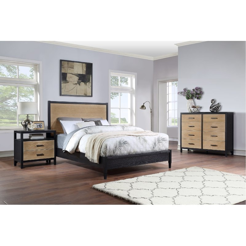 Modern Oak And Black 3 Piece King Bedroom Set Carter Rc Willey Furniture Store