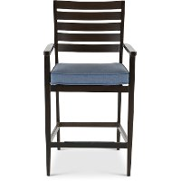 Denim Blue Patio Barstool with Arms - Adeline