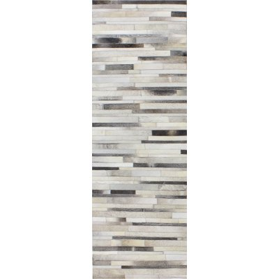 Contemporary Quentin Gray Leather Rug