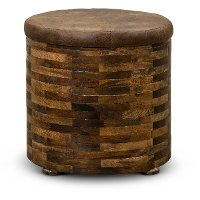 Mixed Wood and Faux Leather End Table - Maya