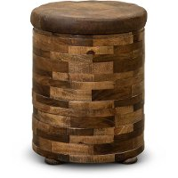 Mixed Wood and Faux Leather Chairside Table - Maya