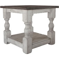 Antique White End Table - Stone