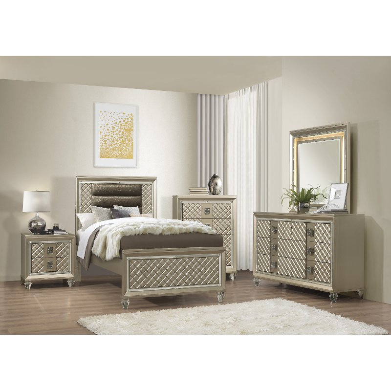 Contemporary Gold 5 Piece Twin Bedroom Set Peony Rc Willey Furniture Store