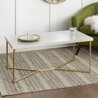 Mid Century Modern Coffee Table - White Faux Marble/Gold