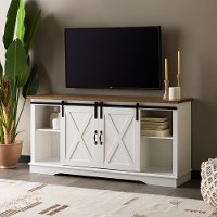 58 Inch Modern Farmhouse Wood TV Stand - White/Rustic Oak