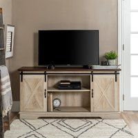 Modern Farmhouse 58 Inch Wood TV Stand - Traditional Brown Top/White Oak