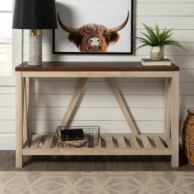 52 Inch Dark Walnut And White Oak Rustic Entryway Sofa Table