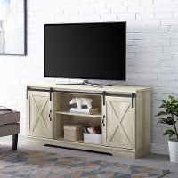 58 Inch Modern Farmhouse Wood TV Stand - White Oak