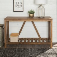 52 Inch Rustic Oak Country Entryway Sofa Table