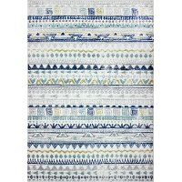 B127-IV-4X6-BH101 4 x 6 Small Transitional Luke Ivory, Gray and Blue Rug - Barcelona