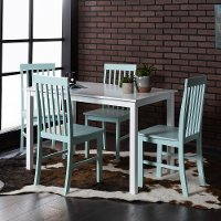 Modern White and Green 5 Piece Dining Set