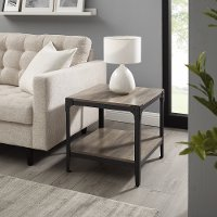 Rustic Wood End Side Table, Set of 2 - Grey Wash