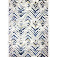 B127-IVBL-4X6-BH104 4 x 6 Small Transitional Levi Ivory, Gray, and Blue Rug - Barcelona