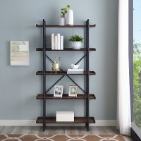 Rustic Industrial 68 Inch Wood Bookcase with 5 Shelves - Dark Walnut