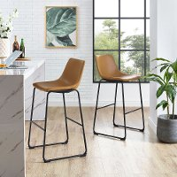 Industrial Light Brown Faux Leather Bar Stools (Set of 2)