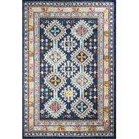 4 x 6 Small Transitional Navy Blue and Ivory Area Rug - Dakota