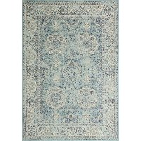 4 x 6 Small Traditional Alberta Aqua Area Rug - Everek
