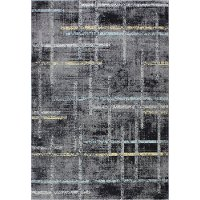 4 x 6 Small Traditional Nellie Dark Gray and Blue Rug - Everek