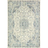4 x 6 Small Traditional Mariela Ivory and Blue Rug - Everek