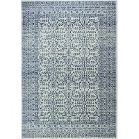 E110-IVBL-4X6-5466 4 x 6 Small Traditional Noelle Ivory and Blue Rug - Everek