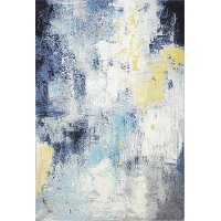 E110-IVBL-4X6-5570A 4 x 6 Small Traditional Amos Ivory, Gold and Blue Rug - Everek
